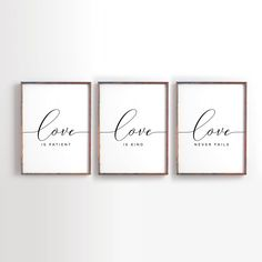 Love is patient, Love is kind, Love never fails, Bible Verse art, Wedding Art, Christian wall art, bedroom decor, Set of 3 by PrintableSky on Etsy https://www.etsy.com/listing/555220842/love-is-patient-love-is-kind-love-never