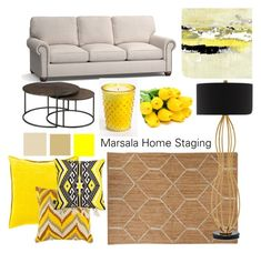 Moodboard yellow by Marsala Home Staging on Polyvore featuring interior, interiors, interior design, home, home decor, interior decorating, Hammary, Currey & Company, Nikki Chu and BIVAIN