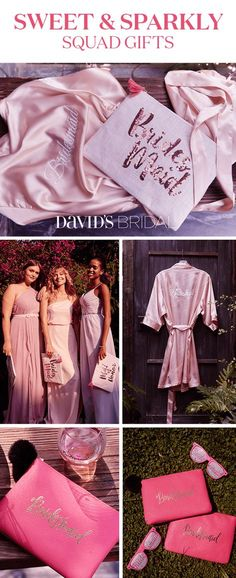 Thank them for being a part of your special day with a thoughtful gift they'll treasure. At David's Bridal, you'll find hundreds of bridesmaid gifts, including plenty you can personalize and customize to make as unique as she is. From jewelry to apparel, glassware to accessories, there's something everyone will love. Shop bridesmaid gifts at David's Bridal today.