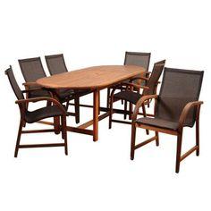 Amazonia Bahamas 7-Piece Eucalyptus Extendable Rectangular Patio Dining Set with Brown Sling Seat