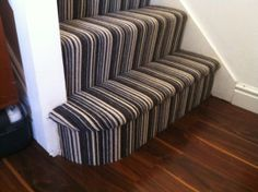 Cheap Carpet Runners For Stairs Grey Striped Carpet, Striped Carpet Stairs, Striped Carpets, Beige Carpet, Black Carpet, Modern Carpet, Carpet Decor, Diy Carpet, Carpet Ideas