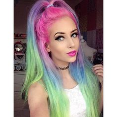 ♥ pastel rainbow hair, soft grunge ♥