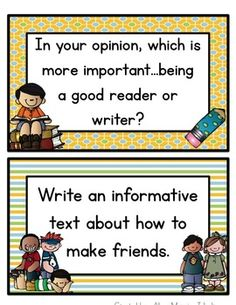 FREE Common Core Aligned Writing Prompts! W.3.1 Write opinion pieces on topics or texts, supporting a point of view with reasons. W.3.2 Write informative/explanatory texts to examine a topic and convey ideas and information clearly.  W.3.3 Write narratives to develop real or imagined experiences or events using effective technique, descriptive details, and clear event sequences.