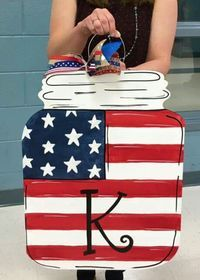 American Flag Mason Jar Door Hanger with welcome y'all and TSU and maybe room # Mason Jar Crafts, Mason Jars, Burlap Door Hangers, Wooden Cutouts, July Crafts, Summer Crafts, Holiday Crafts, Front Door Decor, Wooden Doors
