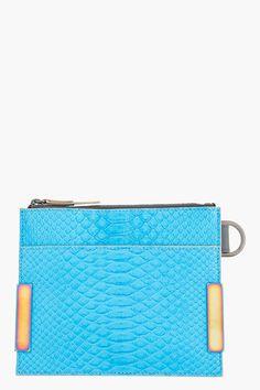 LANVIN Large Blue Pythonskin Two-tone Flat Wallet