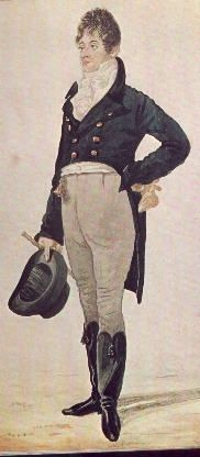 "1797 to 1810.    This is the prototype of the Regency man: Beau Brummel. He is wearing an absolutely typical men's Regency day outfit. This is transacting-business-about-town dress, versus riding dress or evening dress.    Several things distinguish these clothes as having an earlier Regency date (besides the fact that ""the Beau,"" as he was known, was run out of town by creditors in the 'teens). Most important is that the tailcoat is cut without a waist seam, something that all Victorian coat..."