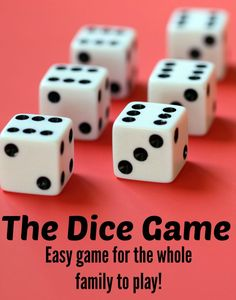 The Dice Game - an easy game for the whole family to play.You can find Dice games and more on our website.The Dice Game - an easy game for the whole family to play. Family Fun Games, Card Games For Kids, Family Fun Night, Games For Teens, Adult Games, Easy Kid Games, Indoor Games For Adults, Indoor Group Games, Board Games For Two