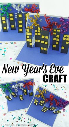 New Year's Eve Craft for Kids This New Year's Eve Craft for kids is a great craft for kids to make to ring in the new year. It depicts a nighttime fireworks show in the city. New Year's Eve Craft for Kids This New Year's Eve Craft for kids is a Winter Crafts For Kids, Crafts For Kids To Make, Projects For Kids, Kid Crafts, Fireworks Craft For Kids, New Year's Eve Crafts, New Year's Eve Activities, New Years Eve Fireworks, New Year Art