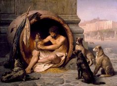 Gérôme, Jean-Léon (b,1824)- Diogenes in Barrel Surrounded by Dogs