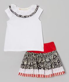Another great find on #zulily! Black & Cream Damask Top & Skirt - Toddler by Free Planet #zulilyfinds