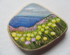 Kidney Vetch and thrift in cornwall, england - Original miniature painting on English sea pottery