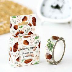 Acorns Washi Tape, Pine Cone Conifer, Fall Leaf Sticker Masking Adhesive,  Autumn
