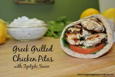 Trying to Eat Lean-Easy Greek Grilled Chicken Pitas With Tzatziki Sauce - Easy Peasy Pleasy Veal Recipes, Grilling Recipes, Chicken Recipes, Cooking Recipes, Healthy Recipes, Chicken Meals, Sauce Recipes, Healthy Meals, Greek Grilled Chicken