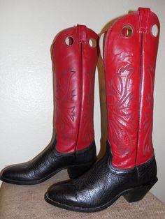 "11 A Mens NOCONA BLACK and RED Leather 18 3/4""  TALL BUCKAROO Rodeo COWBOY BOOTS #Nocona #CowboyWestern"