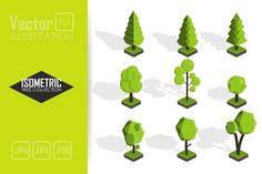Isometric vector tree set by vectorplus on @creativemarket