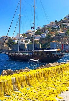 Spread out the fishing nets ashore.. Hydra Island, Greece | by…