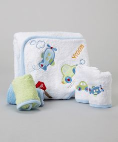 Another great find on #zulily! Blue Airplane & Car Hooded Towel Set by SpaSilk #zulilyfinds