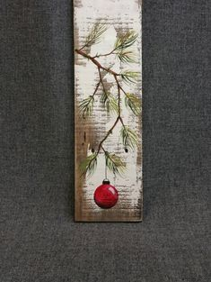 RED Hand painted Christmas decoration, GIFTS UNDER 25, Pine Branch with Red Bulb, Reclaimed barnwood, Pallet art, Shabby chic  Original Acrylic painting on reclaimed barnwood boards.  This unique piece is appx. 16-17 tall. It is a fun, personal touch to add to your Christmas decor or a great gift for teachers. The CHRISTMAS bulb can be ordered in any color!!  All of my creations are made of reclaimed boards. They are hand painted and are made after they are ordered. Although I try to…