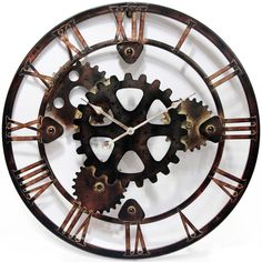 """Unique & Contemporary Metal """" GEAR """" Wall Clock - Love this clock, but not available anymore. The one from Wal-mart was plastic and cheap-looking. Big Wall Clocks, Living Room Clocks, Steampunk Clock, Steampunk Design, Vintage Industrial, Industrial Style, Industrial Design, Gear Clock, Home Building Design"""