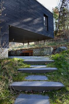A tiny local train depot in rural Connecticut, USA was completely reinvented by the creative team at Gray Organschi Architecture. The resulting Depot House is an original looking welcoming modern home. Architecture Journal, Architecture Details, Landscape Architecture, Interior Architecture, Landscape Design, Interior Design, Beautiful Buildings, Beautiful Homes, Concrete Stairs