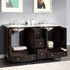 Shop Silkroad Exclusive Naomi Dark Espresso Undermount Double Sink Bathroom Vanity with Natural Marble Top (Common: 60-in x 22-in; Actual: 60-in x 22-in) at Lowes.com