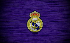 Download wallpapers 4k, Real Madrid FC, Spain, violet background, La Liga, wooden texture, soccer, Real Madrid, Galacticos, football club, LaLiga, FC Real Madrid
