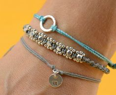 Stamped Initial sterling silver personalized bracelet by zzaval