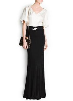 Long combi dress with flared skirt and crystal brooch at waist. Satin finish top with short flutter sleeves and v-neckline. Mango Clothing, Sheer Gown, Mode Editorials, Frack, Satin Top, Manga, Flare Skirt, Dress Outfits, Dresses