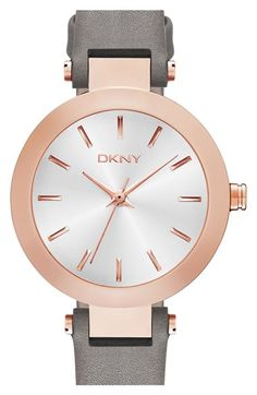 Free shipping and returns on DKNY 'Stanhope' Leather Strap Watch, 28mm at Nordstrom.com. A wide high-polished bezel frames the three-hand sunray dial topping a lovely, wear-anywhere watch set on a slim leather strap.