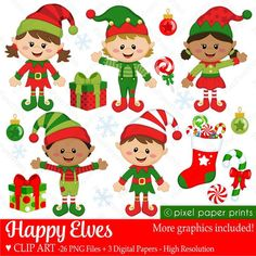 Christmas clipart Happy Elves Clip art and Digital paper image 0 Christmas Wreath Clipart, Christmas Wreaths, Xmas, Christmas Girls, Christmas Yard, Etsy Christmas, Christmas Paper, Christmas Images, Christmas Cookies