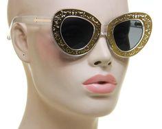 Retro Womens Cat Eye Sunglasses Skull Walker Gold Metal Clear Plastic Frame #Unbranded #CatEye