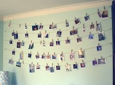 Clothes line photos LIA! WE SHOULD DO THIS ON ONE OF OUR WALLS IN OUR NEW PLACE! @liakristina