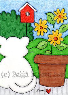 ACEO Original Illustration  Folk Art  Cute by PholkartStudio, $10.00