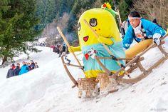 Funassyi in a wooden sled race with comedian Daisuki Miyagawa in Bavaria, Germany.