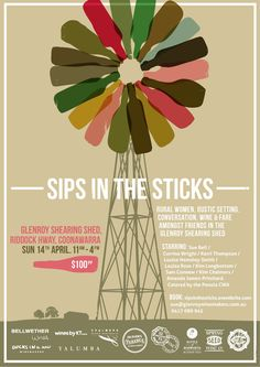 Poster design for 'Sips In The Sticks' - a wine event in outback Australia. Design by David Byerlee. Graphic Design Print, Graphic Design Branding, Wine Poster, Brand Architecture, Wine Festival, Food Festival, In Vino Veritas, Festival Posters, Wine And Beer