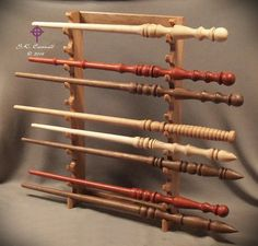 Wood Wand Display Stand Pacific NW Oak for 11 wands Artisan Hand Crafted