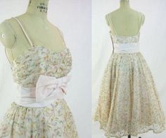 floral embroidered tulle dresses | Vintage 50's Prom Dress Pink Embroidered Floral Tulle Small on Etsy, $ ...