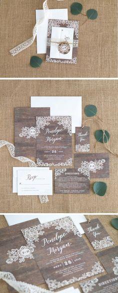 Woodgrain Lace Wedding Invitation Suite