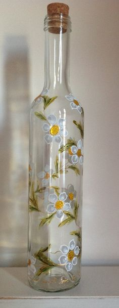Flowers. Beautiful hand-painted bottles. Can be used for water, syrup, juice or as a decoration.