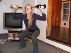Sister Strychnine with some wine! My favorite of all weighted squats. Another use for NZ Sav.  Note the half empty bottle on the left.