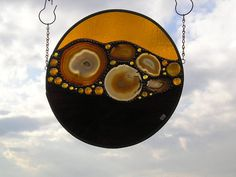 Stained Glass Panel - Round with Amber Agate - OOAK - Abstract- Handcrafted…