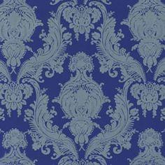 Blue Heirloom Velvet Flocked Wallcovering design by Burke Decor Luxury Wallpaper, Custom Wallpaper, Designer Wallpaper, Modern Wallpaper Designs, Wallpaper Ideas, Flock Wallpaper, Burke Decor, Flocking, Damask