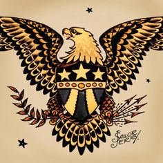 "Norman ""Sailor Jerry"" Collins :: Eagles are symbols for America, representing honor, prowess and intelligence. Sailor Jerry, as a patriot who was acutely aware of (and vocal about) the shortcomings of his country, the Eagle was a symbol of his idealized America. A country that stands with the courage of its convictions and backs down for no one. Jerry's eagles are fierce and iconic, often depicted in association with the flag."