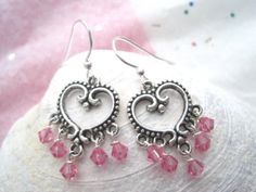 Valentines Day Earrings  Pink Heart Earrings  by Sparkleandswirl, $15.00