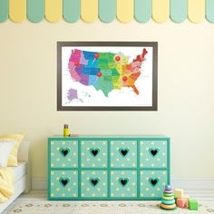 Teal Dream USA Push Pin Travel Map - Childrens us pushpin map