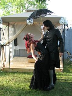 Lovely goth wedding bride and groom
