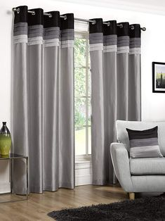 Hamilton McBride Seattle Black Ring Top / Eyelet Fully Lined Readymade Curtain Pair 90x90in(228x228cm) Approx: Amazon.co.uk: Kitchen & Home