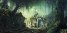 Ruins by miriamrez on DeviantArt Magic Realms, Devian Art, Fantasy Landscape, Fantasy Artwork, Scenery, Digital Art, Wildlife, Photo Wall, Fan Art