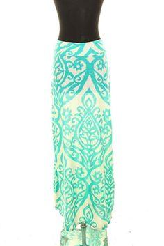 White & Teal Maxi Skirt. $29.99