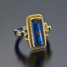 oxidized sterling silver 22kt gold granulation opal ring #opalsaustralia